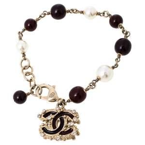 Chanel Pale Gold Tone Burgundy & Cream Beaded CC Charm Bracelet