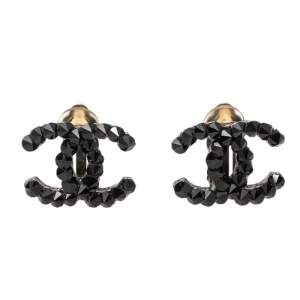 Chanel Gunmetal Tone Spike Crystal CC Stud Earrings