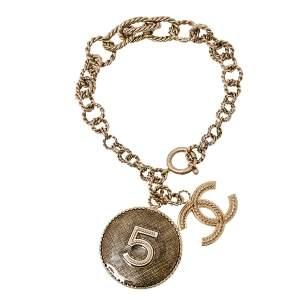 سوار سلسلة شانيل ميدالية دلاية N°5 CC  لون ذهبي فاتح