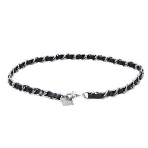 حزام شانيل جلد أسود بدلاية  CC فضي اللون بسلسلة