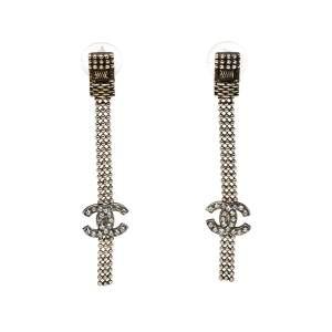 Chanel CC Crystal Gold Tone Tassel Earrings