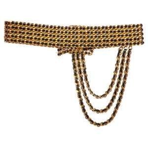 Chanel Gold/Black Chain And Leather Spring 1993 Waist Belt