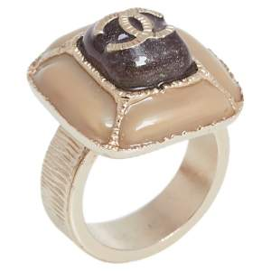 Chanel CC Gold Tone and Enamel Cocktail Ring Size EU 53