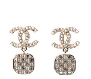 Chanel Crystal Pearl CC Drop Earrings Gold
