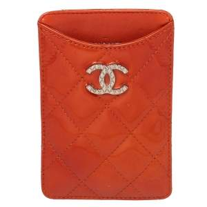 Chanel Orange Quilted Patent Leather CC iPhone Case