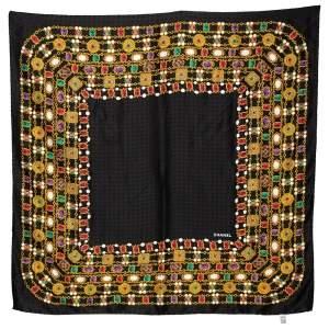 Chanel Vintage Black Gripoix Jewel Print Silk Scarf