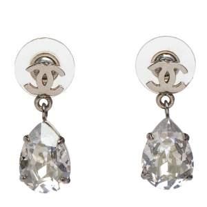 Chanel Silver Tone CC Crystal Teardrop Earrings