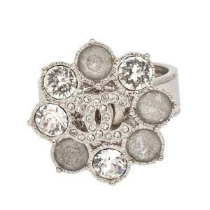Chanel Silver Tone CC Crystal Flower Cocktail Ring Size 52