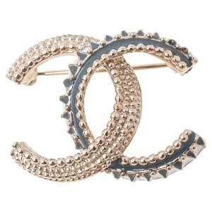 Chanel Gold Tone Enamel CC Pin Brooch