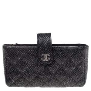 Chanel Black Shimmering Quilted Leather CC Phone Pouch