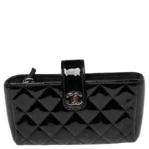 Chanel Black Quilted Patent Leather CC Phone Holder Pouch