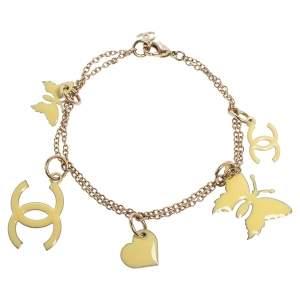 Chanel Multicolor Enamel Charms Double Chain Bracelet