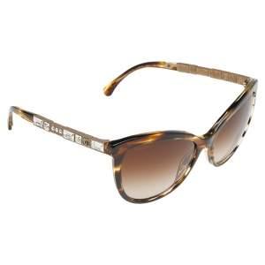 Chanel Brown Havana/Brown Gradient Baguette Crystal 5307-B Bijou Cat Eye Sunglasses