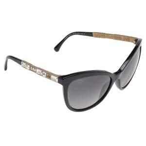Chanel Black/Black Polarized Baguette Crystal 5307-B Bijou Cat Eye Sunglasses