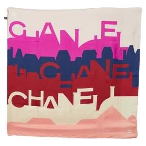 Chanel Multicolor Logo Letter Printed Silk Square Scarf