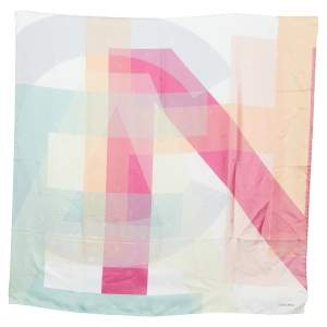 Chanel Multicolor Stacked Logo Printed Silk Square Scarf