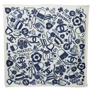 Chanel White & Navy Blue Logo Motifs Printed Silk Square Scarf