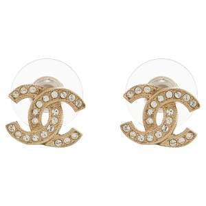 Chanel Pale Gold Tone Crystal CC Stud Earrings