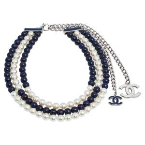 Chanel Blue Beads & Faux Pearl Silver Tone Multi Strand Necklace