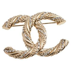 Chanel Gold Tone Crystal CC Pin Brooch