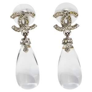 Chanel CC Crystal Silver Tone Drop Earrings