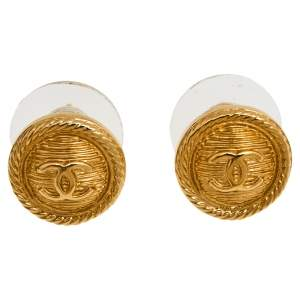 Chanel CC Button Gold Tone Stud Earrings
