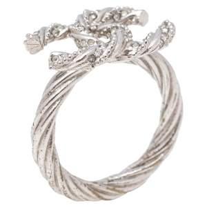 Chanel Pale Silver Tone Crystal Twist CC Ring