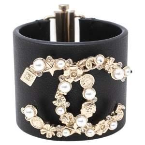 Chanel Black Leather Pale Gold Tone Embellished Logo Cuff Bracelet