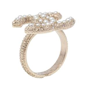 Chanel CC Faux Pearl Crystal Pale Gold Tone Ring Size 52