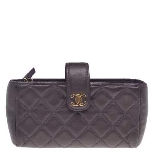 Chanel Purple Quilted Leather CC Phone Pouch