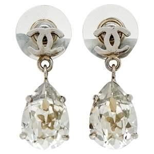 Chanel Silver Tone Crystal CC Tear Drop Earrings