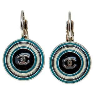 Chanel Silver Tone Enamel CC Drop Earrings