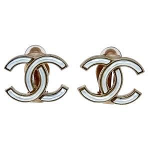 Chanel Gold Tone Pearl Resin CC Stud Earrings