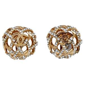 Chanel Gold Tone Crystal CC Dome Clip-On Earrings