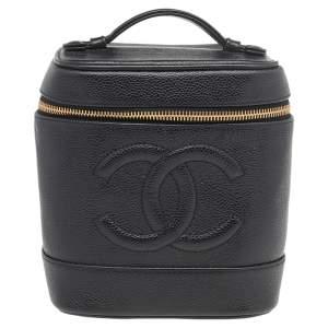 Chanel Black Caviar Leather Vintage Vanity Case