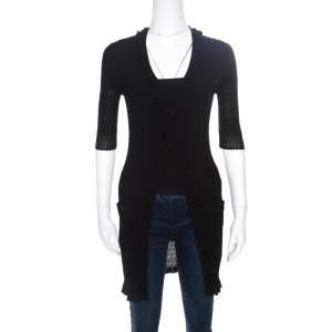 Chanel Black Rib Knit Ruffle Trim Long Cardigan S