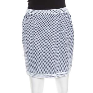 Chanel Navy Blue and White Jacquard Knit Mini Skirt S