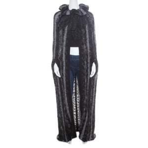 كارديغان شانيل تريكو شانكي متعدد الألوان طويل برباط عنق تصميم كاب مفتوح M
