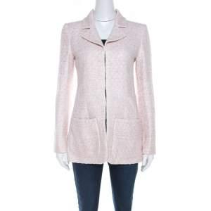 Chanel Pale Pink Lurex Insert Tweed Long Coat S