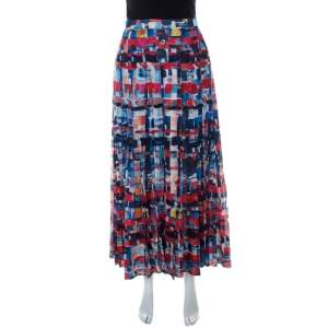 Chanel Multicolor Printed Cotton Pleated Maxi Skirt S