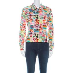 Chanel Vintage Multicolor Stretch Silk Crepe Abstract Print Cropped Shirt M