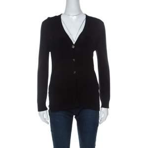 Chanel Black Knit Cotton Blend Embellished Button Cardigan M
