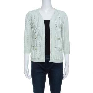 Chanel Mint Green Cotton Blend Perforated Knit Cardigan S