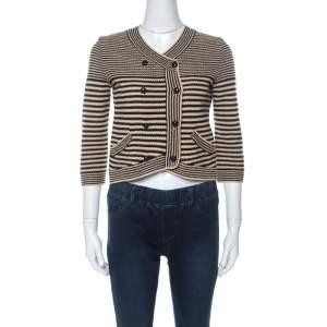 Chanel Black and Beige Striped Pattern Crochet Knit Silk Blend Cardigan S