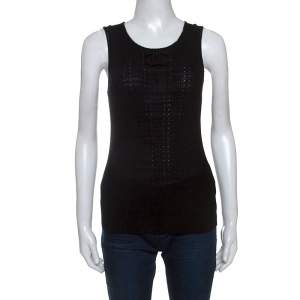 Chanel Black Knit Cotton Blend Crochet Trim Sleeveless Top L