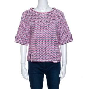 Chanel Mulitcolor Crochet Knit Short Sleeve Top M