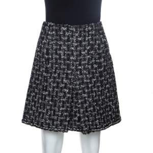 Chanel Black Tweed A Line Skirt M