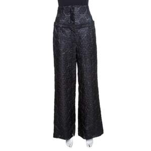 Chanel Black Floral Jacquard Metallic Weave Detail High Waisted Trousers L