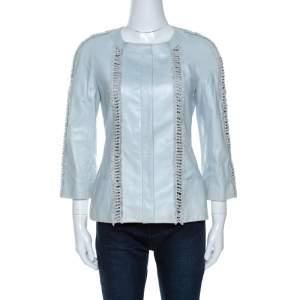 Chanel Mint Blue Leather Fringe Detail Jacket M