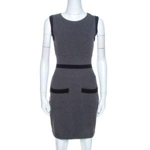 Chanel Grey Stretch Wool Rib Knit Trim Fitted Dress M